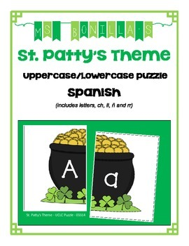 Spanish Alphabet Uppercase and Lowercase Puzzle - St. Patty's Theme