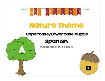 Spanish Alphabet Uppercase and Lowercase match - Nature Theme