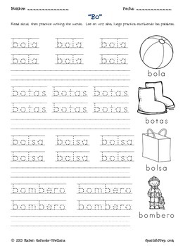 "Spanish Alphabet Vocabulary Handwriting Practice: Letter ""B"""