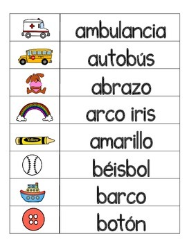 Spanish Word Wall:  Spanish Alphabet Vocabulary Cards