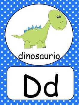 Spanish Alphabet Wall Cards Polka Dots