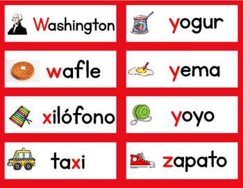 Spanish Alphabet Word Wall Vocabulary Cards and Letter Cards