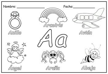 Spanish Alphabet Worksheets to color