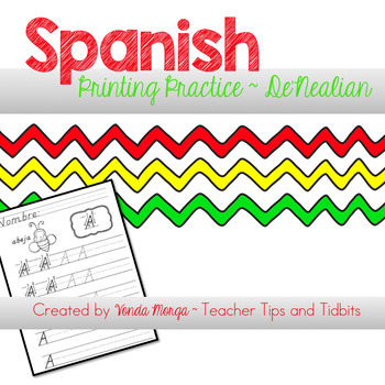 Spanish Alphabet and Numbers D'Nealian Practice Sheets