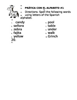 Spanish Alphabet and Pronunciation Overview with 2 Practices