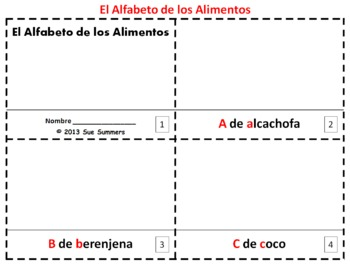 Spanish Alphabet of Food 2 Booklets / Alfabeto de Alimentos