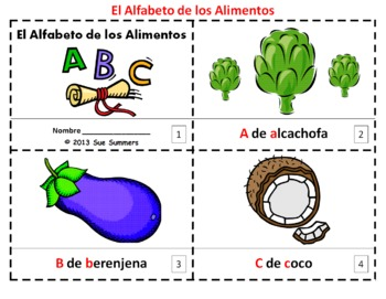 Spanish Alphabet of Food 2 Booklets / Alfabeto de Alimentos