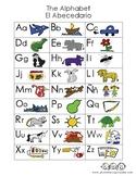 Dual Language:  Spanish English cognate alphabet poster