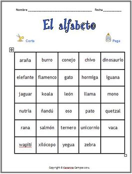 Freebie: Spanish Alphabet:Animals and Insects- Cut and Glue
