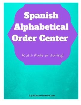 Spanish Alphabetical Order Center Cut Paste Sort (Orden Alfabetico español)