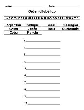Spanish Alphabetical Order Packet (Orden Alfabetico español)