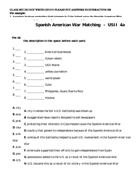 Spanish American War 5A Multiple Choice Formative