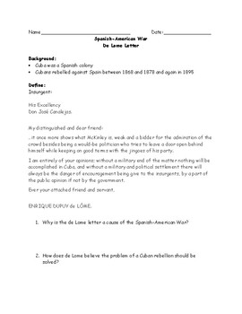 Spanish American War: De Lome Letter (Adapted) Worksheet and Answer Key