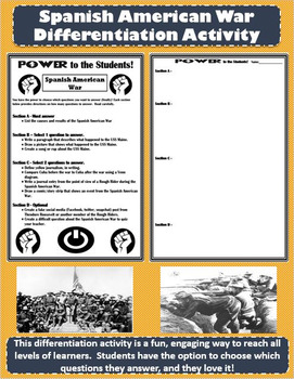 Spanish American War Differentiation Activity - Power to the Students!