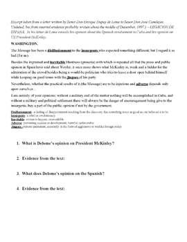 Spanish American War: Dupuy de lome letter