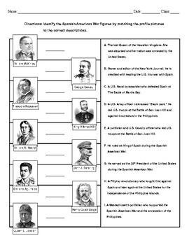 Spanish American War People Matching Worksheet