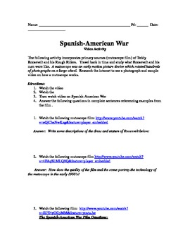 Spanish American War Film Activity