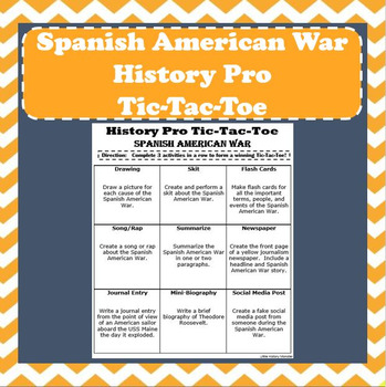 Spanish American War - History Pro Tic-Tac-Toe Choice Board