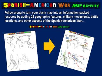 Spanish-American War Map Activity - 30 follow-along PPT sl