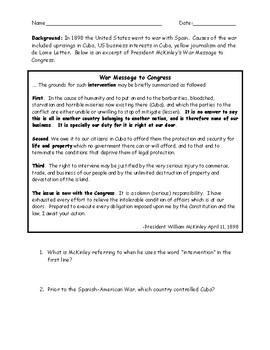 Spanish American War McKinley\'s War Message Primary Source Worksheet ...