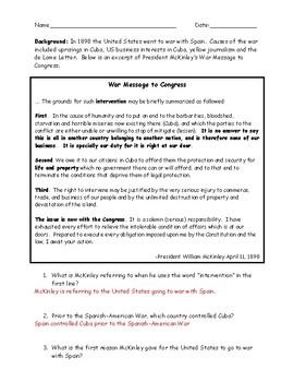 Spanish American War McKinley's War Message Primary Source Worksheet & Key