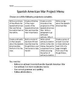 Spanish-American War Project Menu
