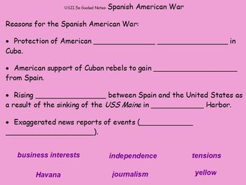 Spanish-American War, Roosevelt, WWI Guided Notes Flipchart