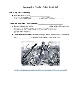 Spanish-American War, Roosevelt, WWI Guided Notes (STUDENT COPY)