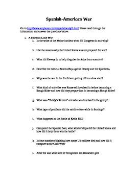 Spanish American War Worksheet Answers - spanish american war ...