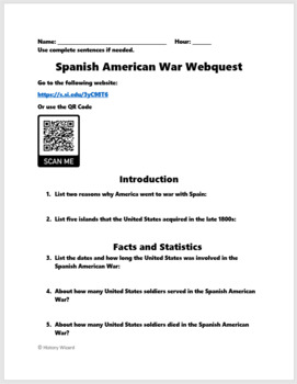 Spanish American War Webquest (Great Lesson Plan) by History Wizard