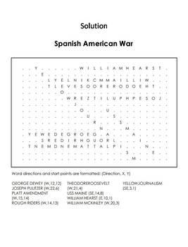 Spanish American War Worksheet/ Word Search