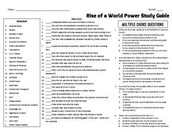 Spanish American War & World War 1 Study Guide