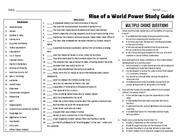 Spanish American War & World War 1 Study Guide