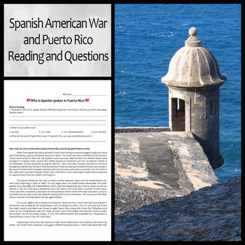 Spanish American War and Puerto Rico Reading and Questions