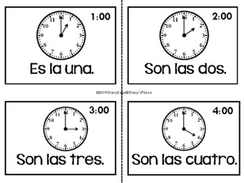 Spanish Analog and Digital Time w/Clocks Word Wall  (La Hora) Spanish Time Only