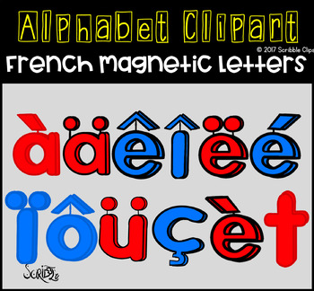 Spanish And French Magnetic Letters CLIPART (scribble clips)