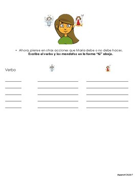 Spanish- Angel & Devil - Tu Commands activity- no prep - printable-