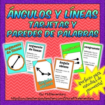 Spanish Angles and Lines Cards and Word Wall