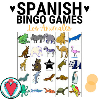 Spanish Animals - English Spanish Bingo