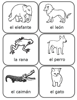 Spanish Animal Cards (black and white)