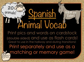 Spanish Animal Flash Cards