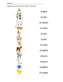 Spanish Animal Matching Worksheet
