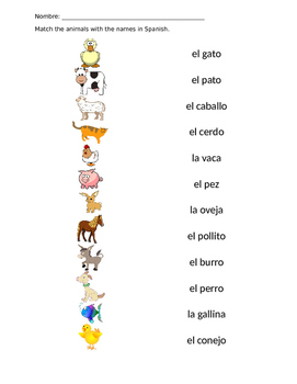 spanish animal matching worksheet by la vida naioti tpt. Black Bedroom Furniture Sets. Home Design Ideas