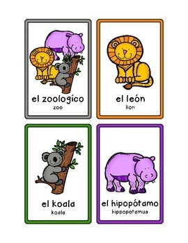 Spanish Animal Puzzles and Activities - At the Zoo - Set 1
