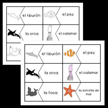 Spanish: Animal/ Sea Creature Vocabulary Puzzles