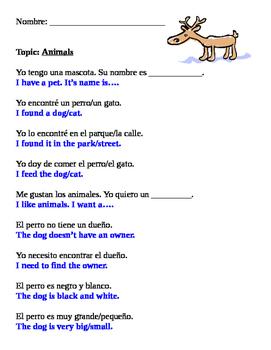Spanish Animal Vocabulary