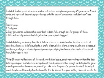 Spanish Animal Vocabulary ¡Pesca! (Go Fish) Game