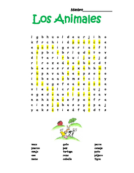 Spanish Animals Animales Word Search Puzzle