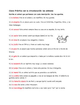 Spanish Animals Circumlocution Worksheet