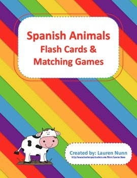 Spanish Animals Flash Cards and Matching Games